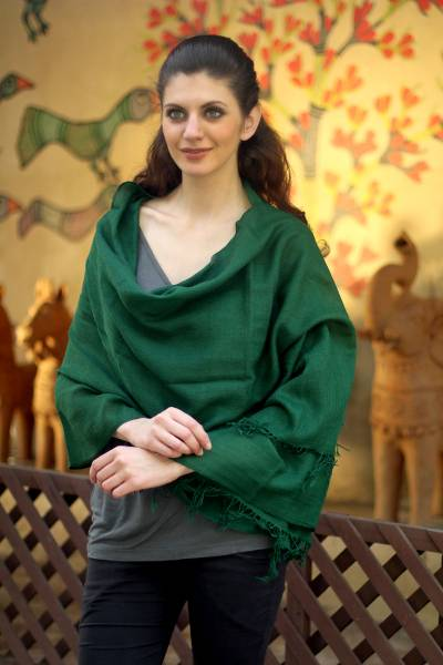 Wool shawl, 'Emerald Muse' - Woven Emerald Green Wool Shawl from India