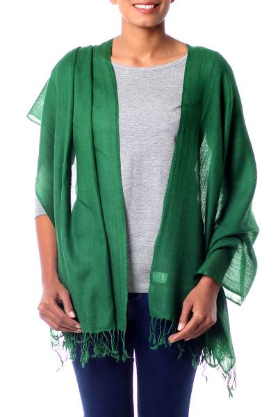 Wool shawl, 'Emerald Muse' - Woven Emerald Green Wool Shawl from India