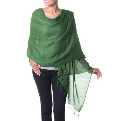Wool shawl, 'Lime Green Muse' - Handmade Indian Wool Shawl