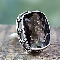 Smoky quartz solitaire ring, 'Mystic' - Silver and Smoky Quartz Ring