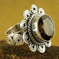 Smoky quartz flower ring, 'Sunflower' - Sterling Silver and Smoky Quartz Floral Cocktail Ring