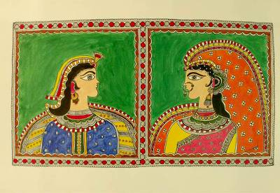 Madhubani painting, 'Royal Grace' - Madhubani painting