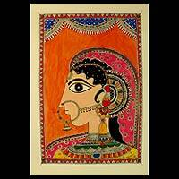Madhubani Painting, 'Indian Bride' - Madhubani Painting