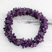 Amethyst stretch bracelet, 'Lilac Muse' - Stretch Amethyst Bracelet Artisan Crafted Jewelry