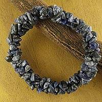 Sodalite stretch bracelet, 'Blue Muse' - Sodalite Stretch Beaded Bracelet Handmade India