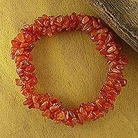 Carnelian stretch bracelet, 'Sunny Muse' - Hand Crafted Bracelet with Natural Carnelian