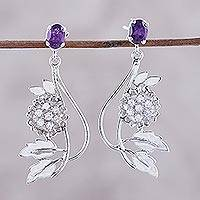 Amethyst flower earrings, 'Morning Blossom' - Amethyst and Cubic Zirconia Dangle Earrings