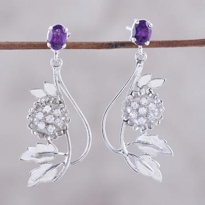 Amethyst flower earrings, 'Morning Blossom' - Amethyst and Cubic Zirconia Dangle Earrings