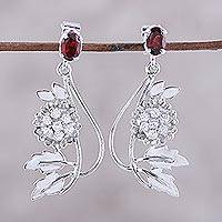 Garnet flower earrings, 'Morning Blossom' - Handcrafted Garnet and Silver Dangle Earrings