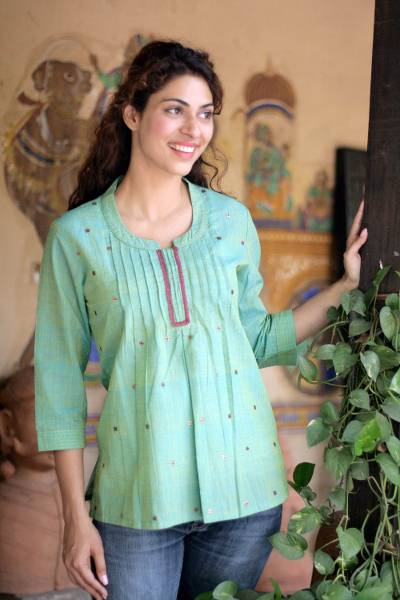 Cotton blouse, 'Lemon Lime' - Handwoven Cotton Embroidered Blouse Top