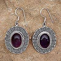 Amethyst dangle earrings, 'Purple Star' - Amethyst dangle earrings