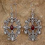 Handcrafted Sterling Silver and Carnelian Dangle Earrings, 'Vintage Vineyard'