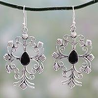 Onyx flower earrings, 'Vintage Vineyard' - Unique Floral Sterling Silver Onyx Earrings