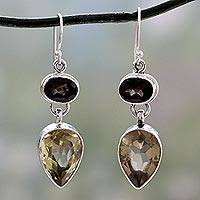 Smoky quartz and lemon quartz dangle earrings, 'Fortunes' - Hand Crafted Smoky Quartz Earrings Indian Jewelry