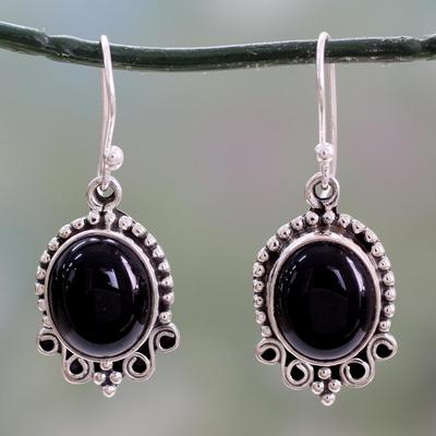 Onyx dangle earrings, 'Midnight Kiss' - Onyx Dangle Earrings in Sterling Silver from India