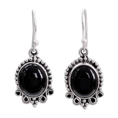 Onyx Dangle Earrings in Sterling Silver from India
