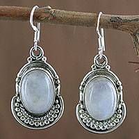 Moonstone dangle earrings, 'Rainbow Ice'