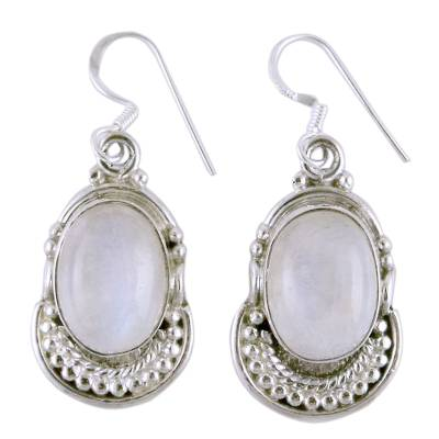 Moonstone and Sterling Silver Dangle Earrings
