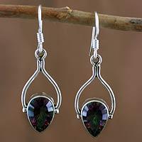Sterling silver dangle earrings, 'Mystic Rainbow' - Sterling silver dangle earrings