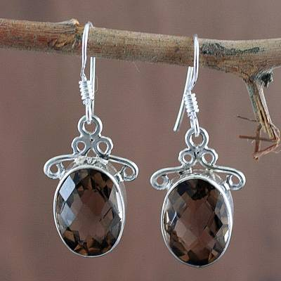 Smoky quartz dangle earrings, 'At Twilight' - Women's Sterling Silver and Smoky Quartz Earrings