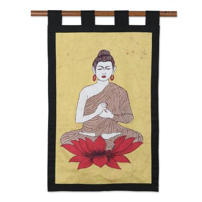 Cotton batik wall hanging, 'Buddha's Calm' - Cotton batik wall hanging