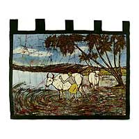 Cotton batik wall hanging, 'Water Buffalo' - India Batik Painting Wall Hanging in Cotton