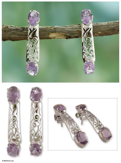 Amethyst drop earrings, 'Lilac Lace' - Amethyst drop earrings