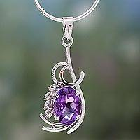 Amethyst pendant necklace, 'Perfect Blossom' - Amethyst pendant necklace