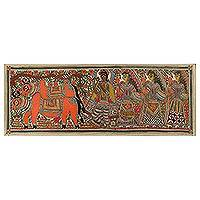 Madhubani painting, 'Krishna, the Cowherd' - Indian Madhubani Folk Art Painting