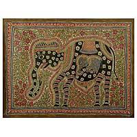 Madhubani painting, 'Elephant Harmony' - Madhubani painting