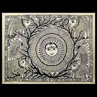 Madhubani painting, 'Mighty Sun' - Madhubani painting