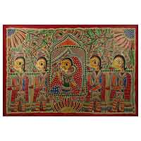 Madhubani painting, 'Wedding Procession' - Natural Dyes on Handmade Paper Madhubani Painting