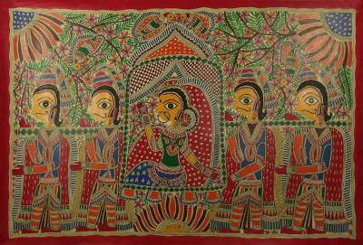 Natural Dyes on Handmade Paper Madhubani Painting