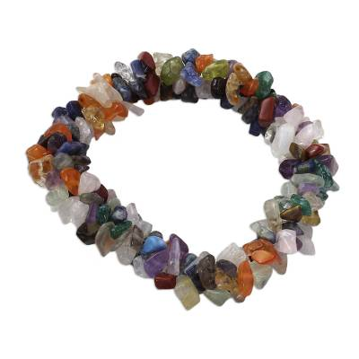 Amethyst and citrine stretch bracelet, 'Rainbow Gems' - Natural Multigems Bracelet from India Jewelry