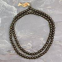 Smoky quartz jap mala prayer beads, 'Pray'