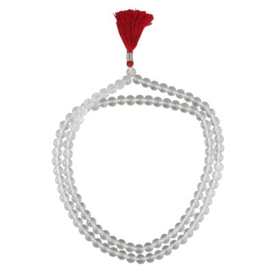 Quartz jap mala prayer beads, 'Pray' - Inidan Jap Mala Necklace Artisan Crafted with Quartz