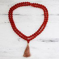 Carnelian jap mala prayer beads, 'Pray' - Carnelian Beaded Prayer Necklace India Jap Mala
