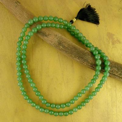 Aventurine jap mala prayer beads, 'Pray' - Prayer Beads Aventurine Jap Mala Necklace from India