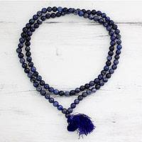 Sodalite jap mala prayer beads, 'Pray' - Artisan Crafted Sodalite Prayer Bead Necklace