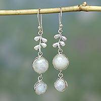 Moonstone dangle earrings, 'Sweet Sugar Cakes' - Sterling Silver Earrings with Moonstones