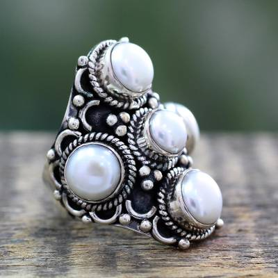White Pearl and Sterling Silver Indian Style Ring