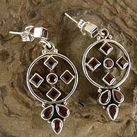 Garnet dangle earrings, 'Scarlet Star' - Garnet dangle earrings
