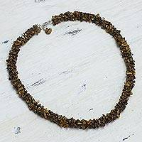 Tiger's eye beaded necklace, 'Honeysuckle' - Tiger's eye beaded necklace