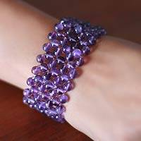 Amethyst stretch bracelet, 'Mystical Muse' - Hand Made Amethyst Beaded Bracelet from India