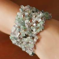 Fluorite stretch bracelet, 'Mystical Muse' - Fluorite Beaded Stretch Bracelet Handmade in India