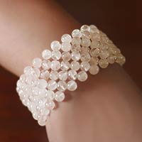 Rose quartz stretch bracelet, 'Mystical Muse' - Rose Quartz Beaded Stretch Bracelet Handmade in India