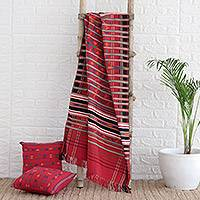 Cotton throw, 'Festive India' - Cotton Striped Throw India Fair Trade