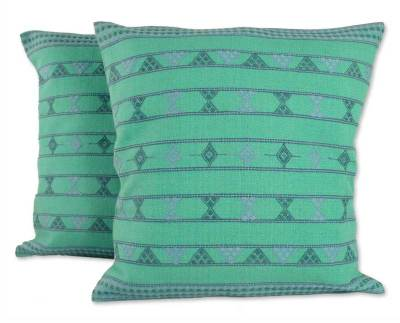 Cotton cushion covers, 'Springtime Jazz' (pair) - Cotton Cushion Covers Handmade in  India (Pair)
