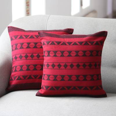 Cotton cushion covers, 'Desert Wine' (pair) - Cotton Patterned Cushion Cover (Pair)