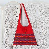Cotton shoulder bag, 'Crimson Tease' - Red Cotton Shoulder Bag Handmade India